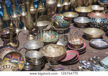 Old kitchenware (trays teapots coffee turks samovars pans plates cups etc)