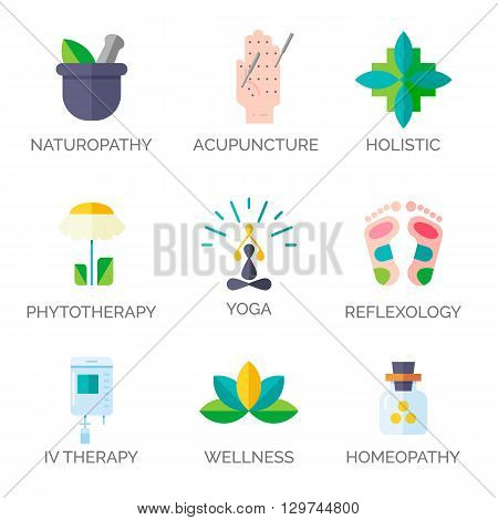 Modern flat style. Holistic center, naturopathic medicine, homeopathy, acupuncture, ayurveda, chinese medicine, womans health. For web site, print design, business card.