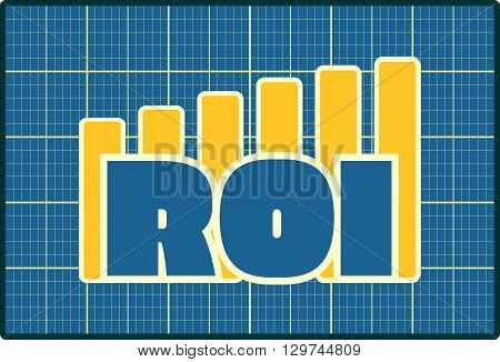 Blue ROI text on yellow chart diagram. Blueprint design ROI progress sticker. Relative for investment business. Bars silhouettes rise up.