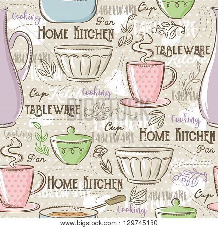 Seamless Patterns with different tablewareflower cup pan and text. Ideal for printing onto fabric and paper or scrap booking.