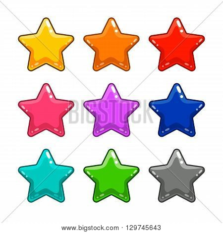 Colorful star isolated on white. Can be used in gui and web design.