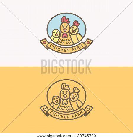 Hen silhouette against logo royal quality food symbol.