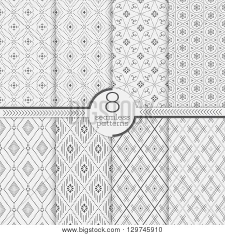 Set of seamless patterns. Collection of modern stylish textures. Regularly repeating geometrical ornaments with different geometric shapes. Modern vector design