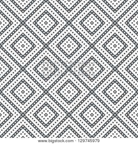 Classical seamless pattern. Modern stylish texture. Regularly repeating geometrical tile with dotted stripes diamonds dots. Vector abstract background
