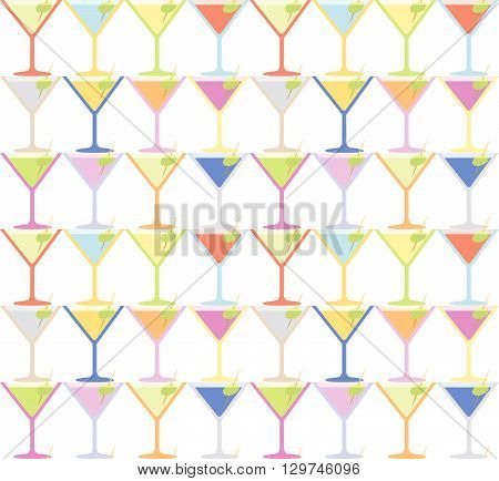 Seamless Martini Coctail Party Glass Pattern Background