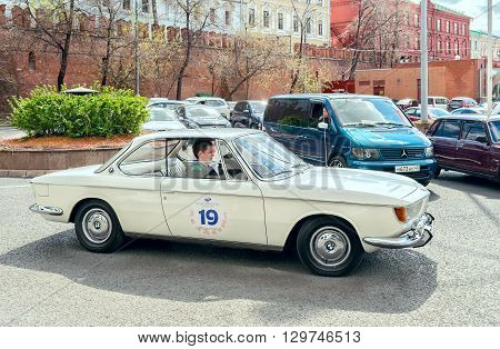 Moscow Russia - April 24 2016: Retro cars rally named after Ingosstrakh Exclusive Classic Day. BMW 2000 CS car.