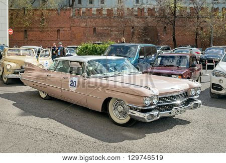 Moscow Russia - April 24 2016: Retro cars rally named after Ingosstrakh Exclusive Classic Day. Cadillac Series 62.