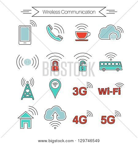 Set of icons of wireless communications. Home and mobile networks. Cloudy storage. Internet cafe. Thin line style. Vector element of graphic design