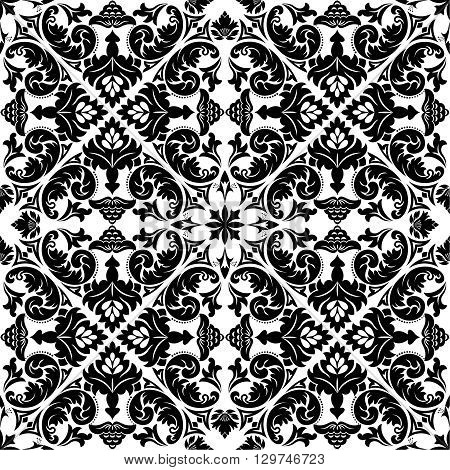 Vector seamless pattern. Luxury elegant texture of damask style. Pattern can be used as a background wallpaper wrapper page fill element of ornate decoration