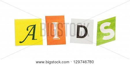 Caption AIDS colorful letters isolated on white background.
