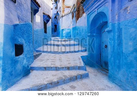 View of a street in the town of Chefchaouen in Morocco