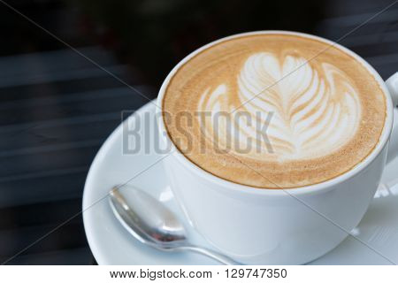 Hot Coffee Latte, Latte Art With Heart In A White Cup