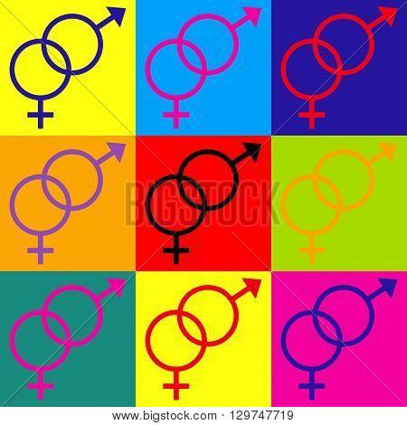 Sex symbol sign. Pop-art style colorful icons set.