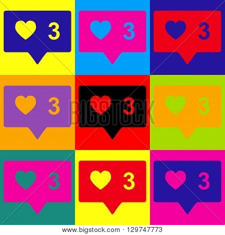 Like and comment sign. Pop-art style colorful icons set.