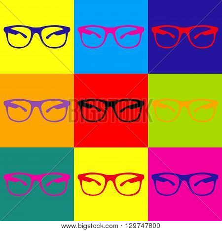 Sunglasses sign. Pop-art style colorful icons set.