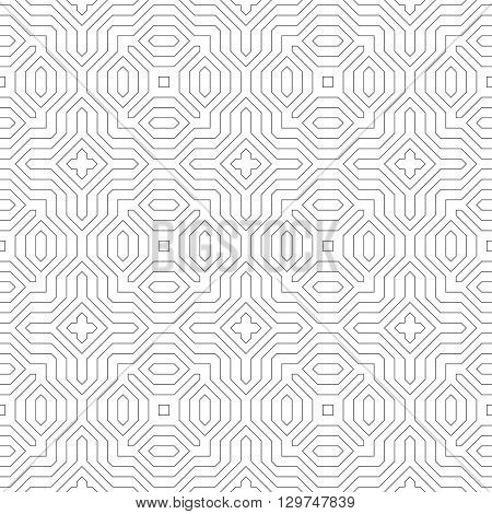 Seamless pattern. Original linear texture. Repeating geometrical shapes lines squares polygons hexagons rhombuses. Monochrome. Backdrop. Web. Vector element of graphic design