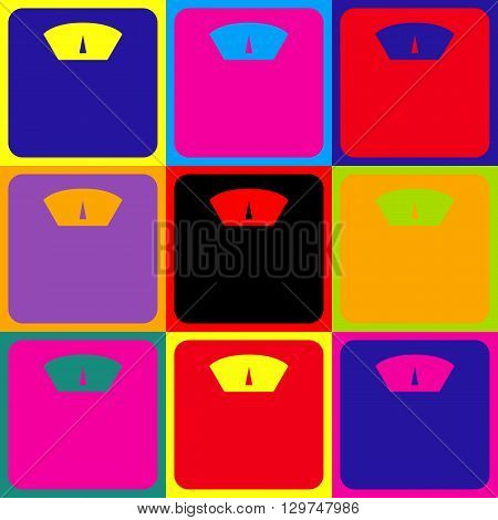 Bathroom scale sign. Pop-art style colorful icons set.