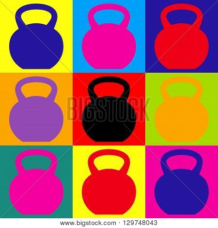 Fitness Dumbbell sign. Pop-art style colorful icons set.