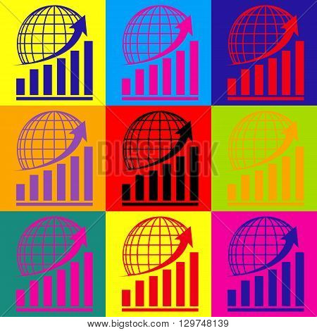 Growing graph with earth. Pop-art style colorful icons set.