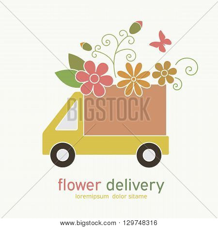 Symbol of a truck delivery with flowers. Design for flower shop cardsweb sites.Vector illustration
