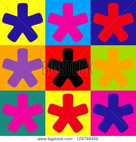 Asterisk star sign. Pop-art style colorful icons set.