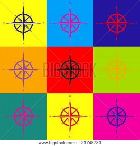 Wind rose sign. Pop-art style colorful icons set.