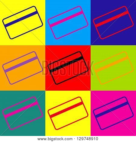 Credit card symbol for download. Pop-art style colorful icons set.