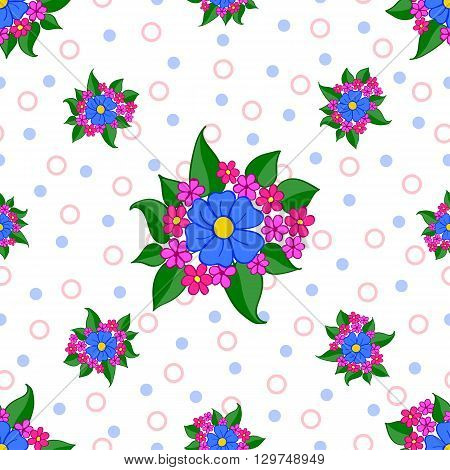 Seamless floral pattern with blue flowers on white background, with circles. Vector illustration. Can be used for fabrics, wallpapers, wrapping design, scrap-booking, web sites, flyers, invitation