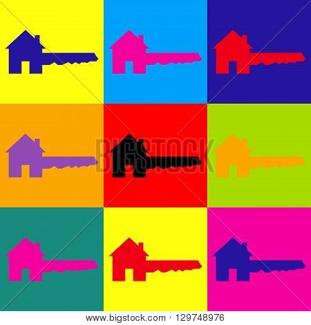 Home Key sign. Pop-art style colorful icons set.