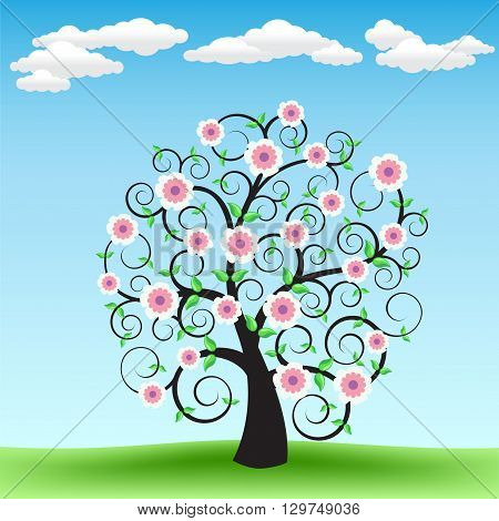 The blooming cartoon tree on the background of green grass and blue sky with clouds