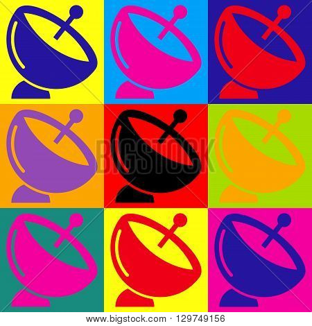Satellite dish sign. Pop-art style colorful icons set.