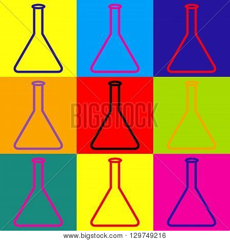 Conical Flask sign. Pop-art style colorful icons set.