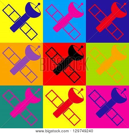 Satellite sign. Pop-art style colorful icons set.