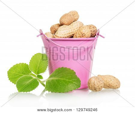 Pink bucket filled with unrefined peanut isolated on white background.