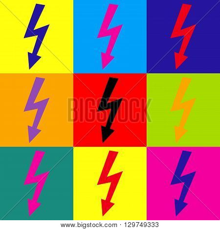 High voltage danger sign. Pop-art style colorful icons set.