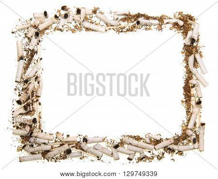 Frame made of cigarette butts isolated on white background.