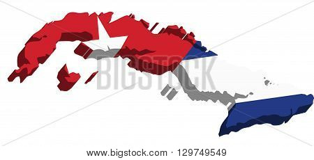 A map of Cuba 3D with flag on white background