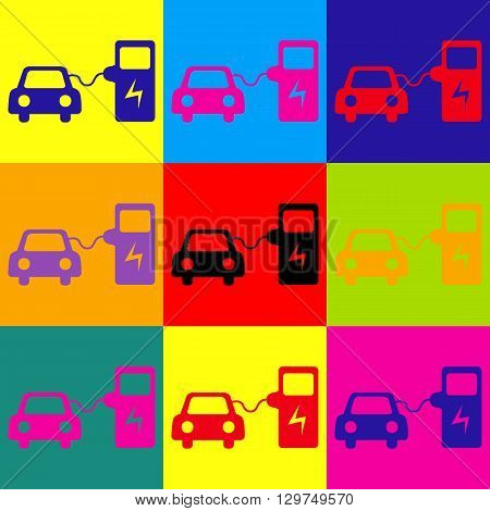 Electric car battery charging sign. Pop-art style colorful icons set.