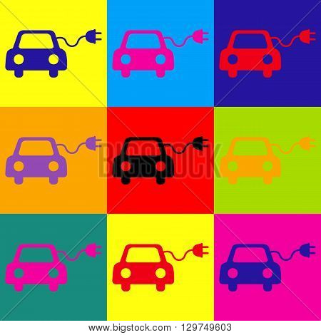 Eco electric car sign. Pop-art style colorful icons set.