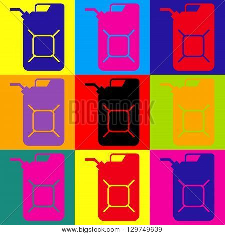 Jerrycan oil sign. Jerry can oil sign. Pop-art style colorful icons set.