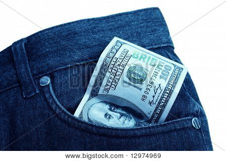banknote in pocket with bribe mark