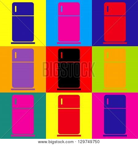 Refrigerator sign. Pop-art style colorful icons set.