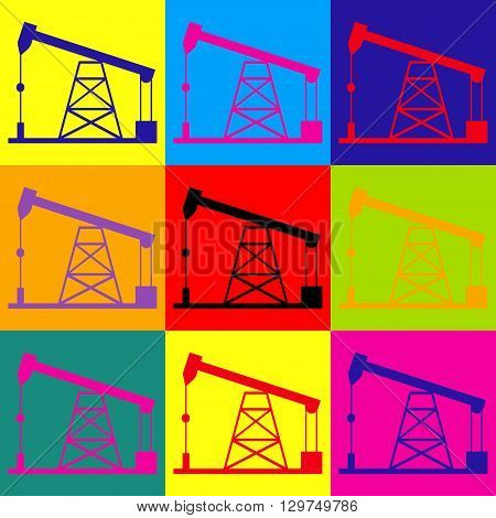 Oil drilling rig sign. Pop-art style colorful icons set.