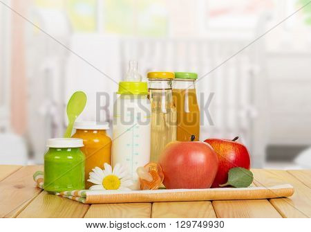 Healthy eating for young children on the background of the kitchen.