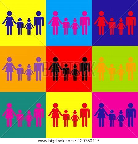Family sign. Pop-art style colorful icons set.