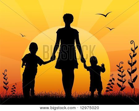 mother with children sunset vector