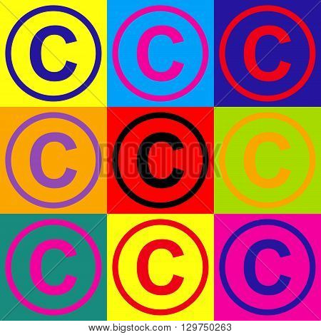 Copyright sign. Pop-art style colorful icons set.