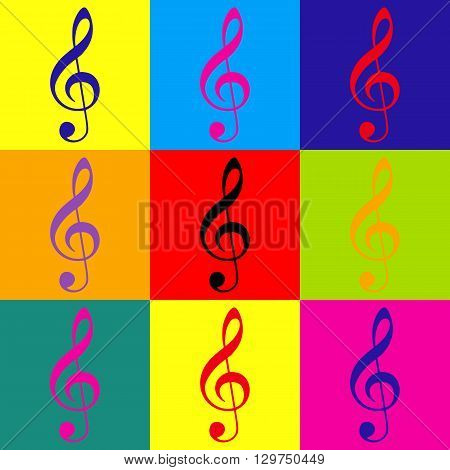 Music violin clef sign. G-clef. Treble clef. Pop-art style colorful icons set.