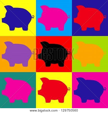 Pig money bank sign. Pop-art style colorful icons set.