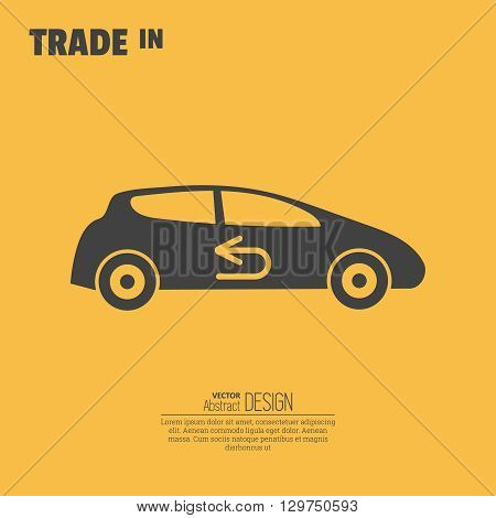 Trade in icon. Concept of an exchange of the car with surcharge